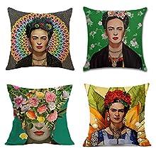 Adecuado para la funda de almohada Frida Kahlo Autorretrato de estilo mexicano Funda de cojín de lino de algodón Funda de cojín de sofá, Funda de cojín de coche Funda de cojín de 4 piezas 45cm x 45cm