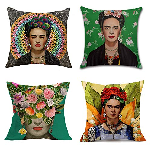 Adecuado para Frida Kahlo, funda de almohada de lino de pintor mexicano, 4 piezas, almohada cuadrada de 18 x 18 pulgadas, cojín decorativo para el coche y el sofá del hogar.