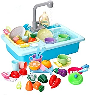 LBLA Kitchen Sink Toys, 28PCS Pretend Play Wash Up Kitchen Toys ,Dishwasher and Cutting Toys , Automatic Water Cycle Syste...