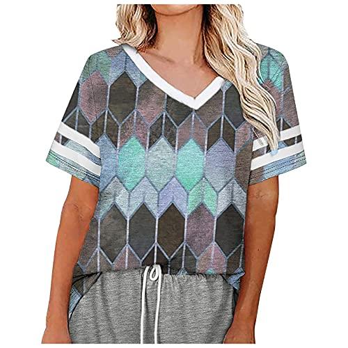 Amandaz Kontrastierende Diamantnähte lose Spitze V-Ausschnitt kurzärmelige Mode schlanke Pullover Sommer Hot Sale T-Shirt