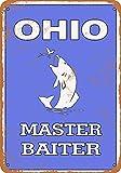 Anwei Signs Cartel de Lata de 8 x 12 – Ohio Bass Pesca Master cebador – Cartel de Metal Aspecto Vintage Garaje Man Cueva Retro Decoración de Pared