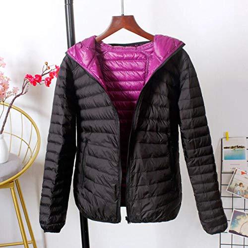 NDBBWG Kurtka puchowa zimowa plus rozmiar 3XL płaszcz puchowy kobiety ultralekkie kurtki z kapturem z obu stron płaszcz wiosenna smukła kurtka fioletowo- czarny XXL