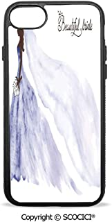 SCOCICI Non-Slip Drop Protection Smart Cell Phone Case Abstract Beautiful Bride Wedding Dress with Flowers Compatible with iPhone 7