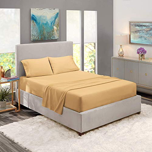 Clara Clark Premier 1800 Series 4pc Bed Sheet Set - Queen, Camel Gold, Hypoallergenic, Deep Pocket