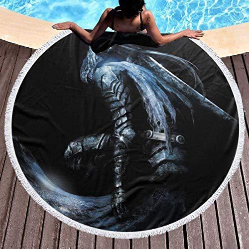 Gypsophila Game Dark Souls - Toalla de playa redonda con borlas de microfibra, tamaño grande, suave, manta de picnic, alfombra de yoga, manta de playa, decoración para habitación de niños
