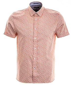 Ted Baker Mybow Short Sleeve Mini Leaf Print Shirt Orange 3  SM