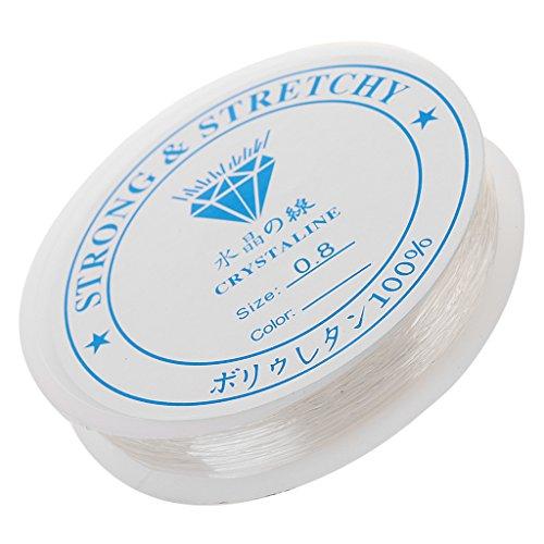 dailymall Cuerda Elástica de Cristal Transparente - 1 Rollo de Cuerda Elástica Blanca Transparente para Pulseras, Abalorios, Fabricación de Joyas (10 M/Rollo) - Claro, 0.8mm