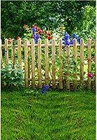HD 7x10ftビニールの写真撮影の背景ガーデンビュー大きな木木製のフェンス紫赤い花草の背景ベビーキッズ大人ポートレート撮影結婚式の写真ビデオスタジオ小道具の壁紙