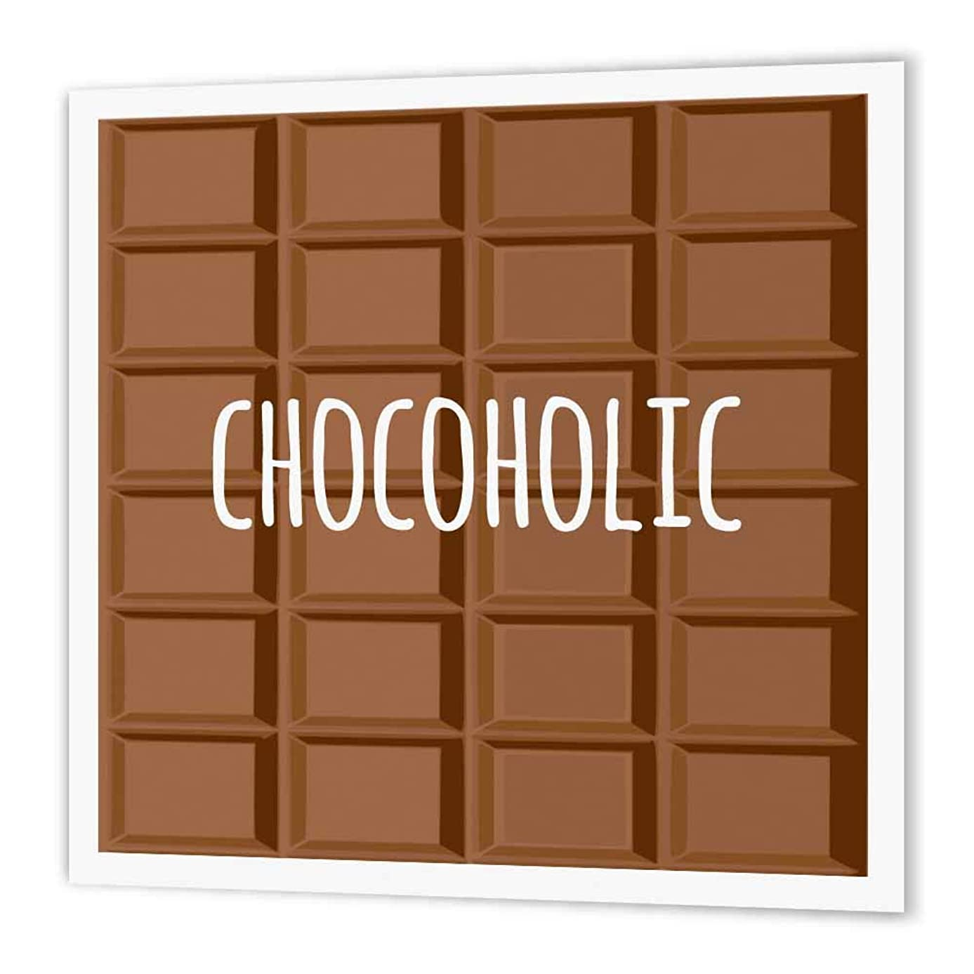 3dRose ht_151340_1 Chocoholic White Text on Chocolate Image Fun Gifts, Chocolate Lovers Iron on Heat Transfer, 8 by 8-Inch, for White Material