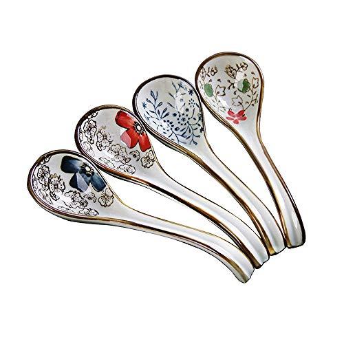 Mango largo gancho Cuchara Vajilla hecha a mano Flor pintada china Cuchara de porcelana conjunto de 4 Regalo para el ama de casa amigos familia
