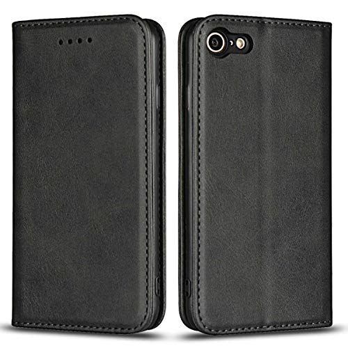 DENDICO Case for Apple iPhone 7 / iPhone 8 / iPhone SE 2020, Classic Leather Wallet Case Flip Notebook Style Cover with Magnetic Closure, Card Holders, Stand Feature - Black