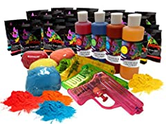 -24 color packets, 4 bright liquid colors, 4 easy fill squirt guns (size may vary) and 4 refillable color balls – the ultimate color party. -Chameleon's authentic COLOR has been enjoyed my MILLIONS all around the world, people LOVE our color, you and...