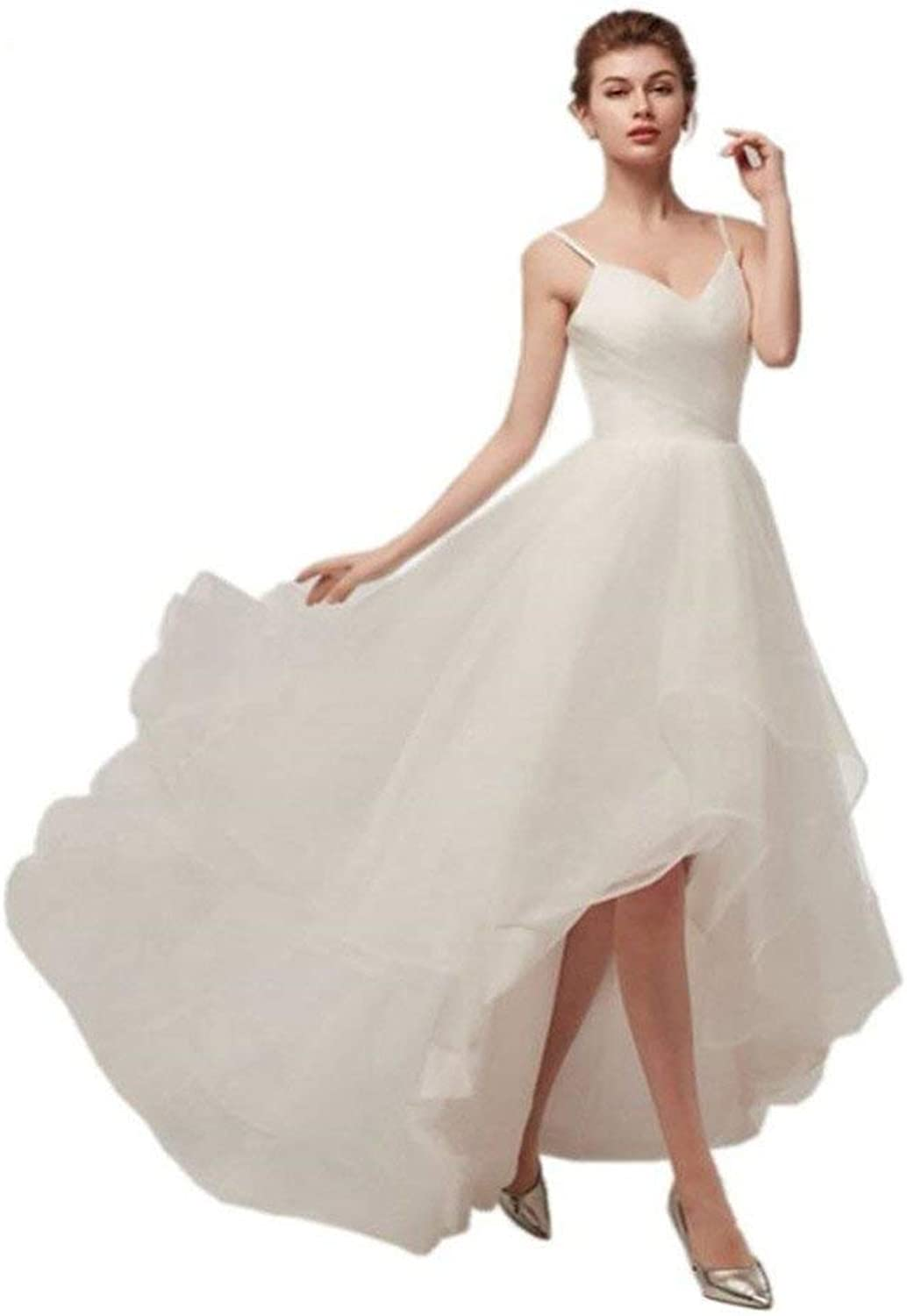 JKLV Wedding Dress European and American Bride Simple Shoulder Strap Short Wedding Dress Photo Photo Dress