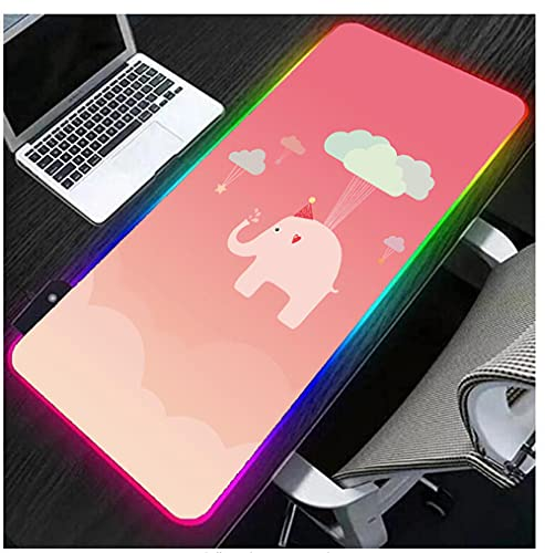 Gaming Mouse Pads Cartoon Animals Elephant Pink RGB Gaming Mouse Pad Cute Big Size LED Computer Keyboard Mat USB Ports Glowing Laptop Desk Mat Durable Stitched Edges 31.5X11.8Inch