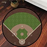 №15834 Round Area Rug Floor Kitchen Carpet, Sports, American Baseball Field with White Markings Painted On Grass Print, Lime Green, for Home Decor