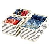 mDesign Juego de 3 cajas organizadoras – Cestas de tela transpirable para ropa...