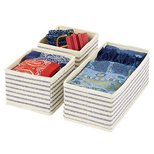 mDesign Set da 3 Organizer in stoffa – Contenitore portaoggetti in fibra sintetica per calze, biancheria, leggins, ecc. – Versatili box per cassetti per camera da letto – color naturale/cobalto