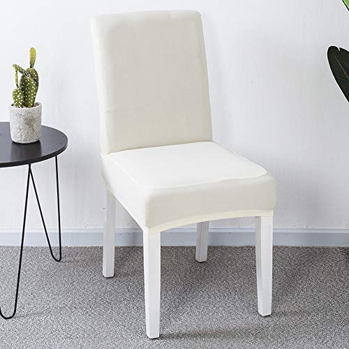 JZK 6 x Fundas Silla Comedor Blanco Spandex para sillas Espalda Alta, Cubiertas para sillas, Funda elásticas para sillas Comedor, sillas Fiesta, Silla Boda