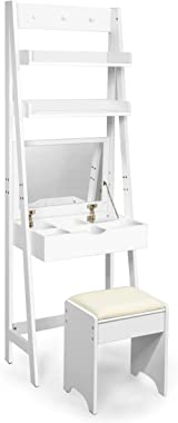 Costway Coiffeuse avec Miroir, Table de Maquillage Moderne avec Tabouret et 2 Etagères, Table de Cosmétique Fabriquer en MDF