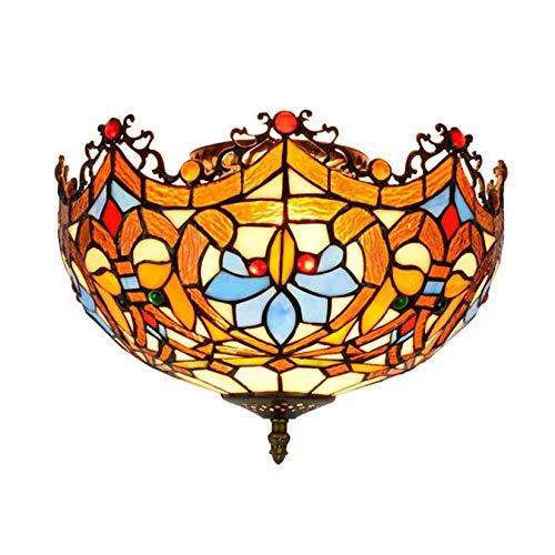 AIBOTY Lámparas de Techo Estilo Tiffany de 12 Pulgadas, Retro, Hecho a Mano, con vitrales, Montaje Empotrado, luz de Techo para iluminación de Porche de Entrada de Pasillo, E27,40W (30 * 21CM)