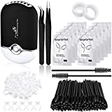Eyelash Extension Supplies, USB Air Conditioning Blower, 2 Straight and Curved Tweezers,100 Disposable Mascara, 50 Glue Ring Holder, 2 Tapes, 10 Pairs Under Eye Gel Pads (Black)