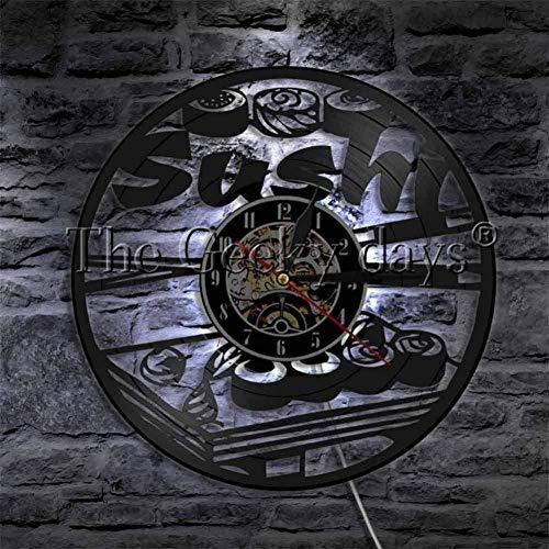 clockfc Sushi Rollers Light Sign Decoración de Cocina Reloj de Disco de Vinilo Comida Deliciosa Arte de Pared Regalo para el Amante del Sushi-Wth_Led