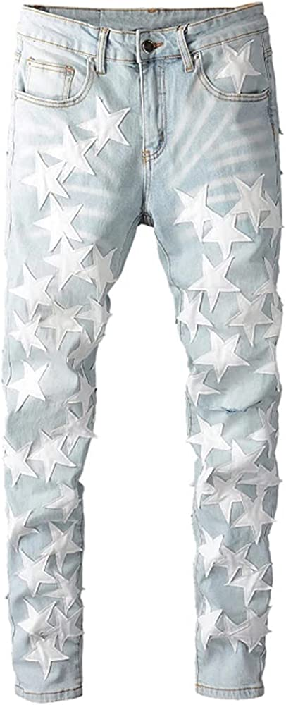 Street Star Leather Five-Pointed Stars Fight Leather Hole wash Jeans Tide Brand (White, 38)