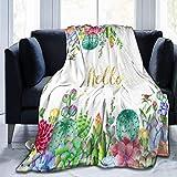 Manta Cactus Boho Flores suculentas Manta de Manta Manta de Terciopelo Ultra Suave Manta de Cama Ligera Edredón Manta de decoración del hogar Duradera Lujoso