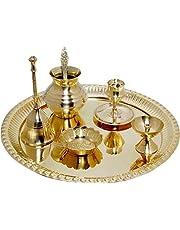 Witte Walvis Indische Speciale Messing Pooja Thali Set voor Pooja Decoratieve Compleet Occasional