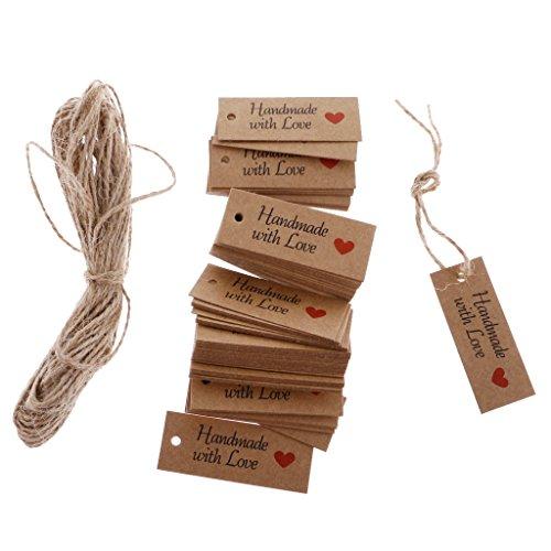 Geschenkanhänger Weihnachtsgeschenk Anhänger für Weihnachten Adventskalender Geschenk Etiketten 100tlg. Gift Tags mit HANDMADE WITH LOVE