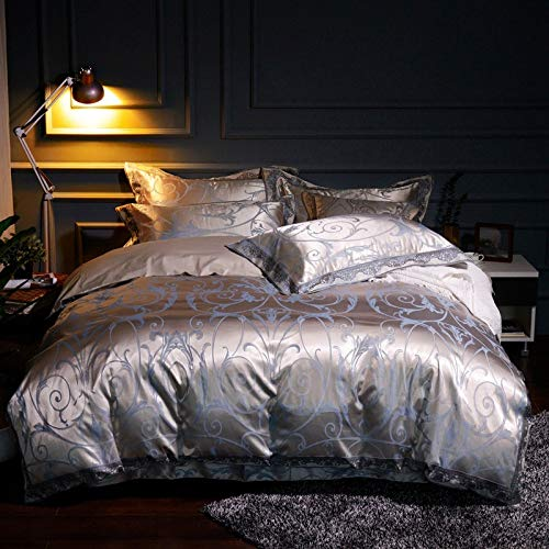 yaonuli dekbedovertrek, 4-delig, linnen, jacquard, gesatineerd en gesatineerd, bed 1,8 m, 2,0 m, Oscar - lichtblauw 220 x 240 cm