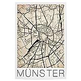 artboxONE Poster 30x20 cm Städte Retro Map of Munster