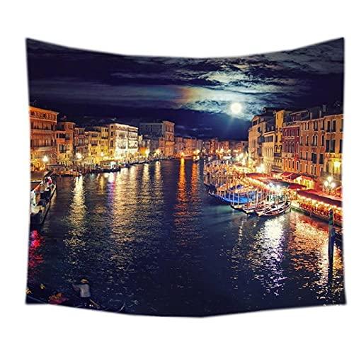 QJIAHQ Venecia Paisaje patrón Tapiz Decorativo Colgante de Pared Alfombra Ropa de Cama Salida Puerta Cortina Textiles-200 * 150 cm