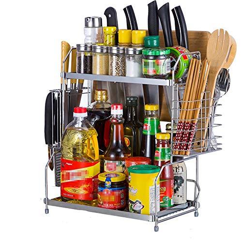 Vobajf Especiero Acero Inoxidable 2 Nivel Titular Estante de Especia Tarro Estante con Patas Mueble de Cocina de Almacenamiento y Organizador del Estante (Color : B, Size : 34X20X41CM)