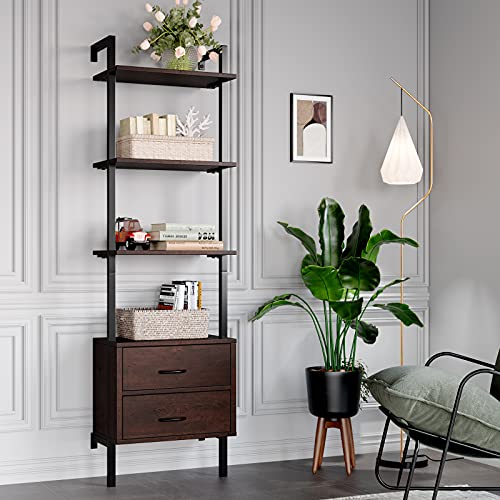 HOMECHO Ladder Bookshelf, 4-Tier Ladder Bookcase with 2 Fabric Drawers, Tall Display Shelves Storage Cabinet for Home Office, Wood and Metal Frame, Cherry