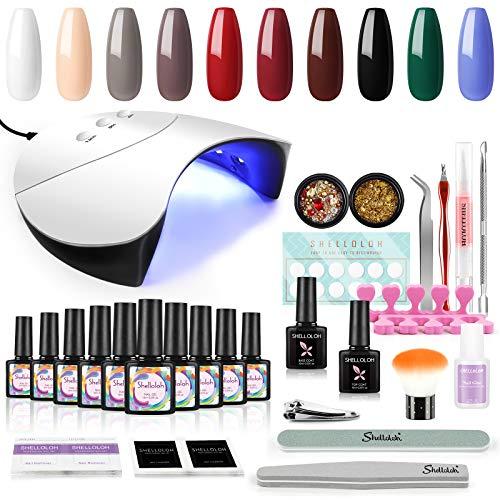 Shelloloh Kit Nagellak voor Nagels set - 10st Gellak Kleuren Nagelstudio met 36W LED + UV-lamp voor Nail Art Design Professionele