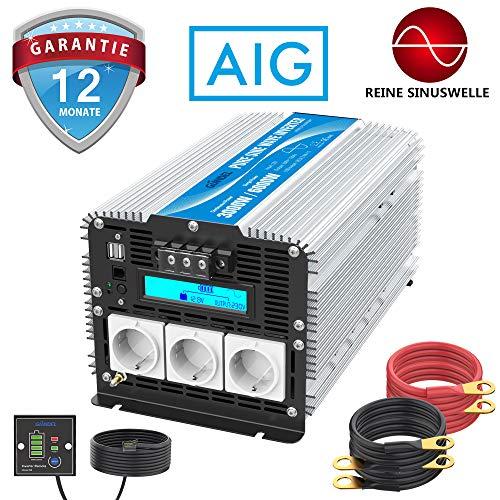 GIANDEL Reiner Sinus Wechselrichter 3000W DC 12V auf AC 230V Spannungswandler mit LCD-Bildschirm und Fernbedienung 2X 2.4A USB und 3X AC Steckdosen