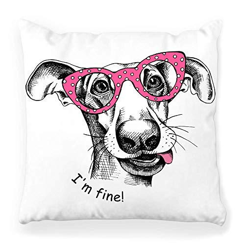 Cushion Cover Case Decorative Throw Pillow Cover Poster Image Funny Dog Pink Glasses Cute Puppy Adorable Animal Art Breed Cartoon Character Color Cool Pillow Case 45X45CM