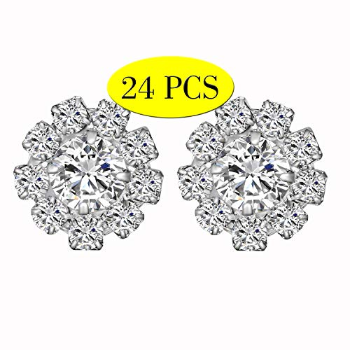 Wholesale 24PCS 16MM Small Clear Rhinestone Buttons Sewing Craft Embellishments (Shank)