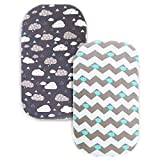 COSMOPLUS Bassinet Sheet Set -2 Pack Stretch Fitted Cradle Fitted Sheets for Bassinet Pads/Mattress, for Boys Girls,Unisex,Ultra Soft,Whale/Cloud