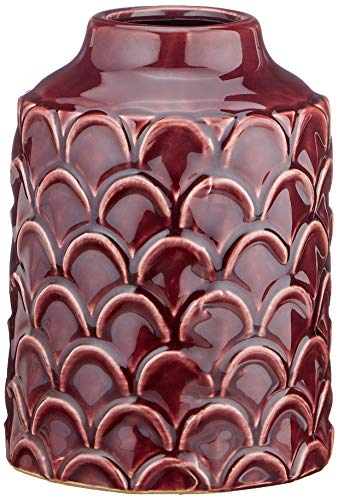 Homemania Vase géométrique décoratif, Porte Objets, Bordeaux en céramique, 13 x 13 x 18 cm