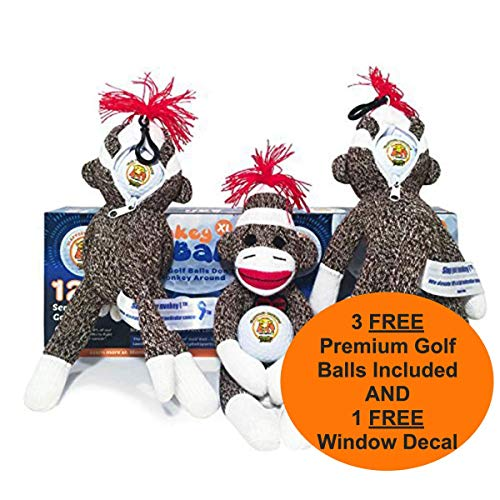 Slap Yo Monkey! Golfers Stress Doll 3 Balls | Holds Golf Ball in Head | Funny Gag Gift Gets The Laughs | Mulligan Stuff Sack Holds Glove, Tees & More | Bag Ball Holder | Funny Gifts White Elephant