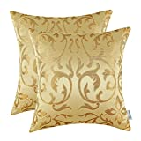 CaliTime Cushion Covers 2 Pack 50cm x 50cm Gold Vintage Floral Both Sides Throw Pillow Cases