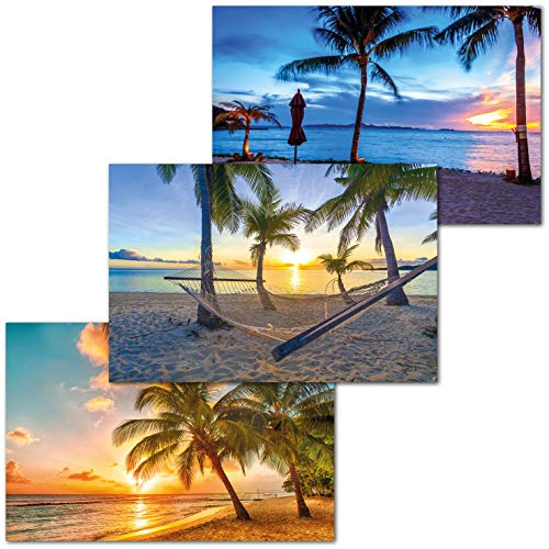 GREAT ART Juego de 3 Carteles XXL – Playas crepusculares – Palmeras Playa Barbados Atardecer océano Caribe Vacaciones decoración de la Pared Carteles Cada uno de 140 x 100 cm
