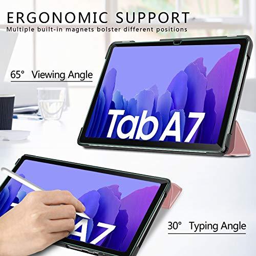IVSO Hülle Kompatibel mit Samsung Galaxy Tab A7 10.4 2020,Mit Panzerglas, Slim Hochwertiges PU Schutzhülle mit Displayschutz für Samsung Galaxy Tab A7 T505/T500/T507 10.4 Zoll 2020, Roségold