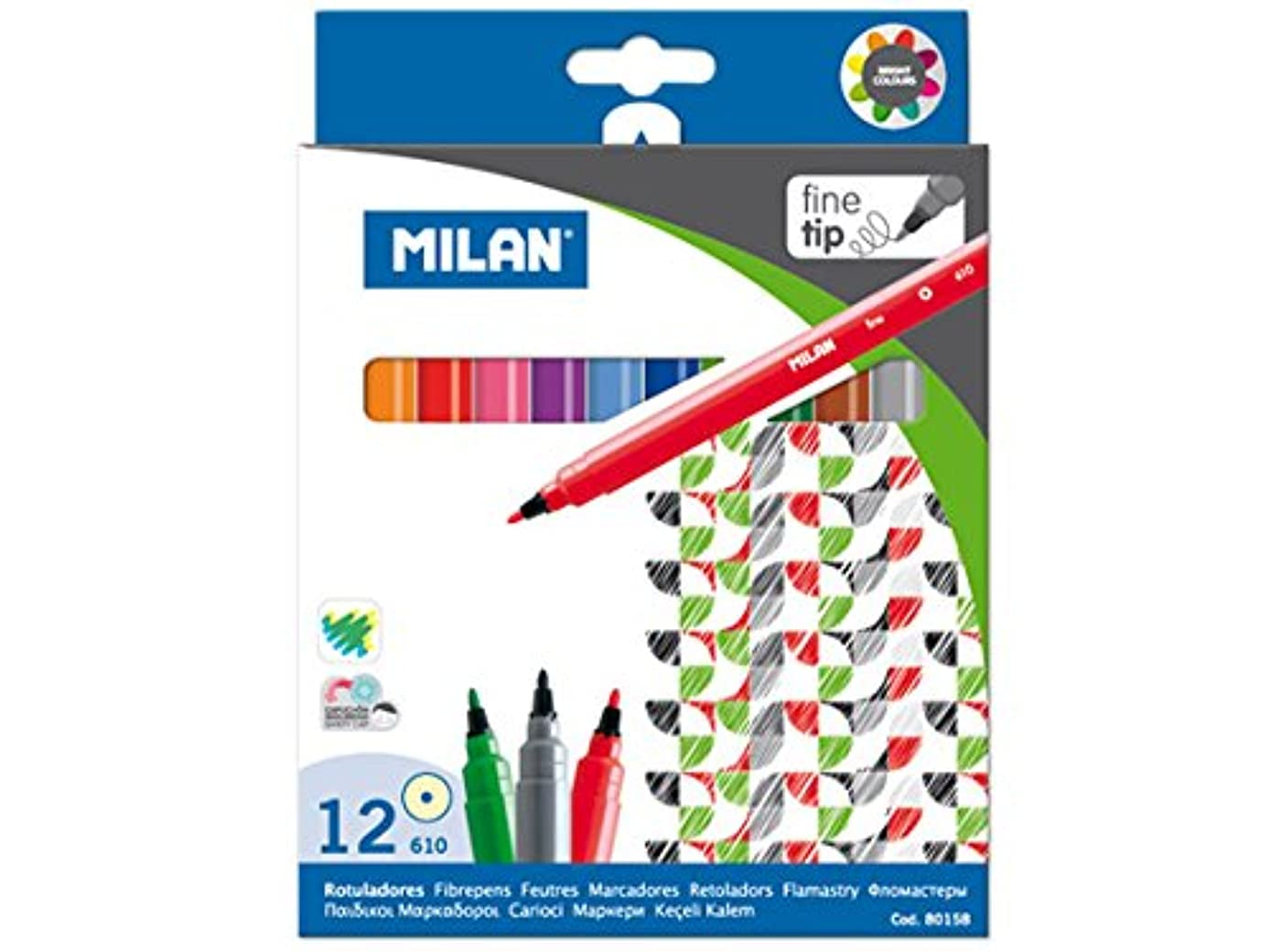 MILAN 80158 MILAN FINE TIPPED WATER-BASED MARKERS 12 COUNT SET