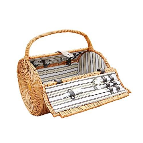 Rotin panier pique-nique voyage en famille panier de rangement en plein air baril boîte de pique-nique sac portable (Color : Natural)