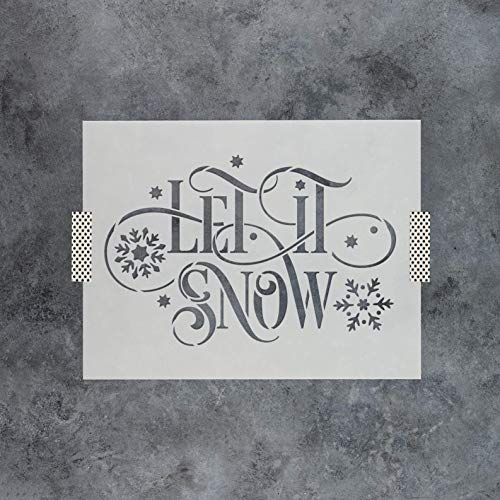 Let It Snow Stencil - Durable Christmas Stencils - Easy to Use Stencil Design