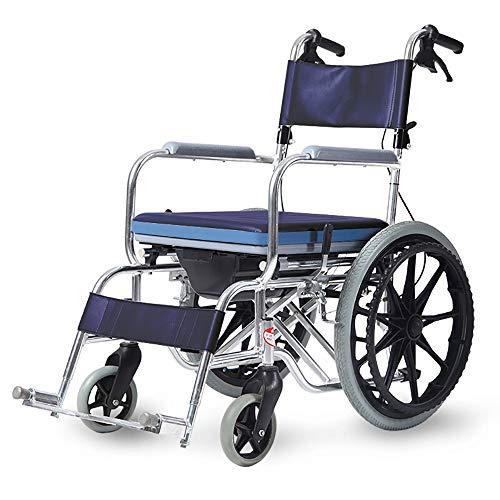 Leichter Faltender Transport-Reise-Reise-tragbarer Aluminiumlegierungs-Bad-Rollstuhl Mit Dem Töpfchen Für Die Älteren Behinderten Selbstfahrenden Roller (Color : Big wheel Blue)