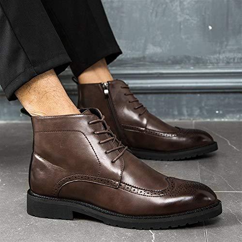 Zapatos cómodos Tobillo Brogue Botas for hombres top del alto vestido de encaje hasta cuero de la PU del dedo del pie redondo antideslizante pulida del estilo resistente al desgaste de la cremallera l
